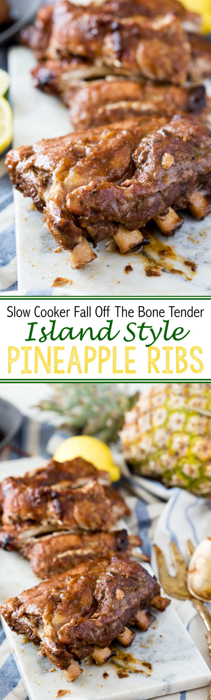 Fall off the bone tender island style pineapple BBQ pork ribs cooked in the slow cooker