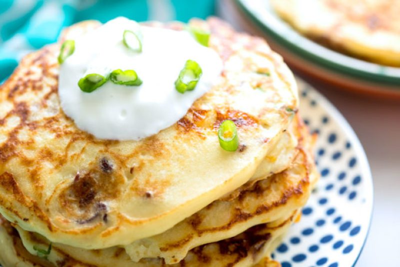 Bacon chives and cheese ricotta pancakes