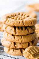 a stack of 5 three ingredient peanut butter cookies