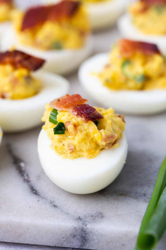 Bacon cheddar ranch deviled eggs are a low carb snack perfect for the keto diet.
