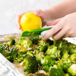lemon zest on broccoli