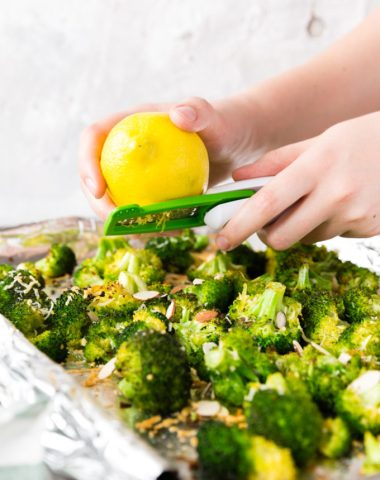 lemon zest on broccoli