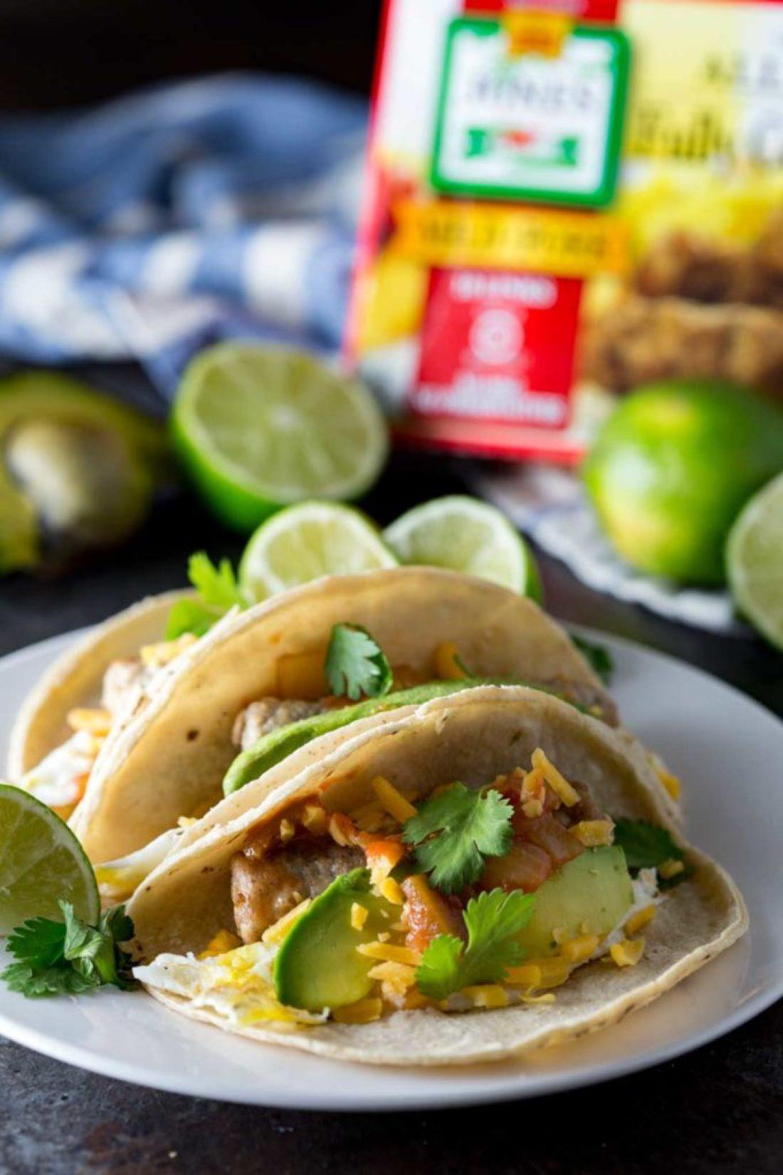 Sausage easy breakfast tacos