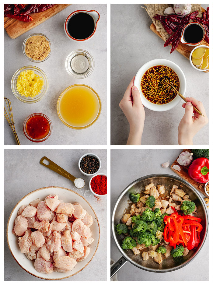 A grid of 4 photos showing what you need to make cashew chicken, the sauce ingredients are in portion cups, raw chicken with corn starch and spices, and a saute pan for cooking everything with some of the ingredients in it.