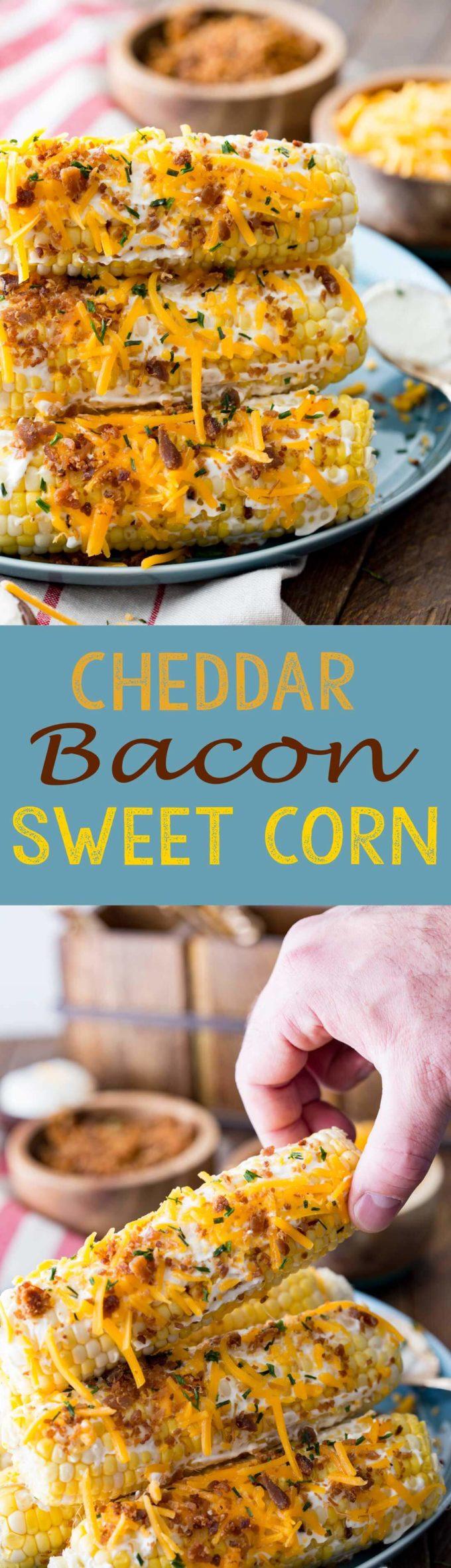 Cheddar bacon sweet corn is a fantastic amazing dinner side dish.