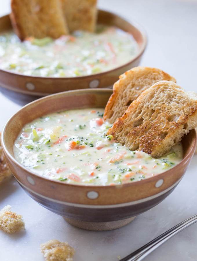 This deliciously creamy and cheesy broccoli soup is very easy to prepare at home. Prepared using fresh broccoli, carrot, and cheddar cheese.