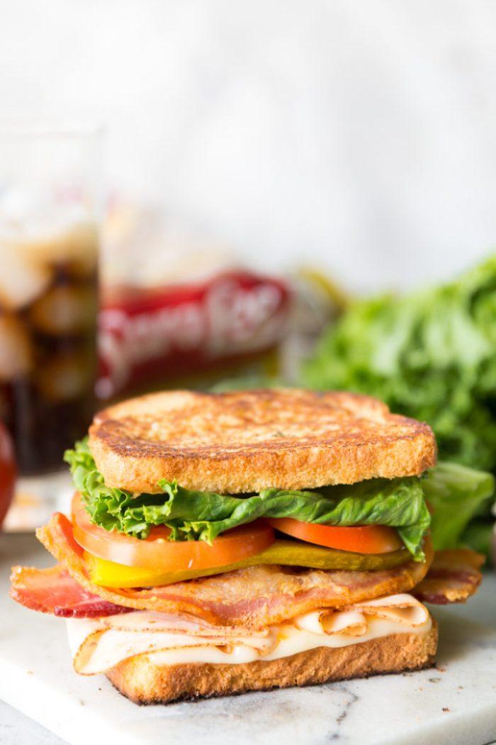 A delicious chicken club sandwich