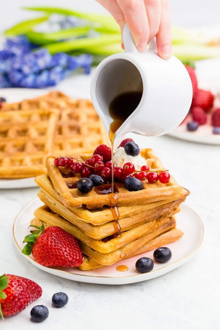 Delicious fluffy interior and crispy exterior, these classic waffles are a family favorite for a reason. You won't be able to get enough of them.
