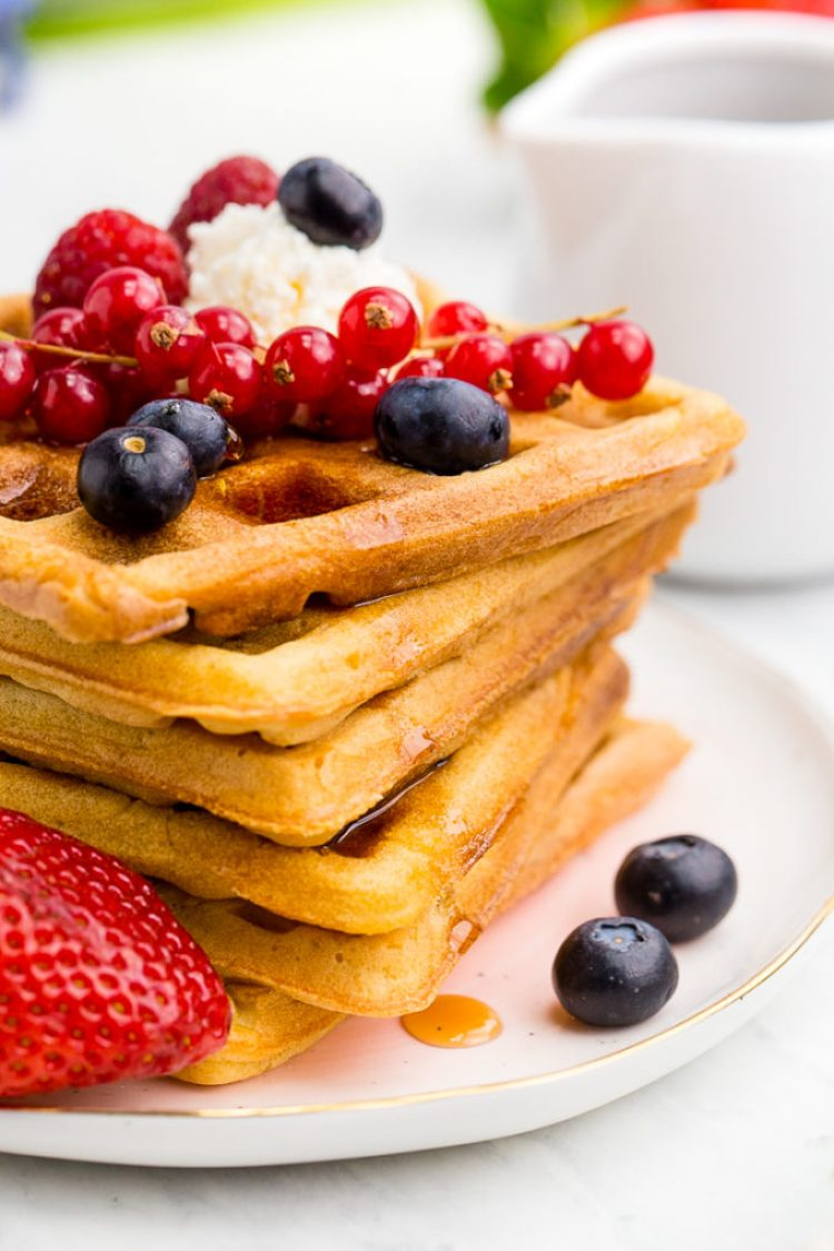 This classic waffle recipe offers a crispy exterior, and soft fluffy interior. Yum!