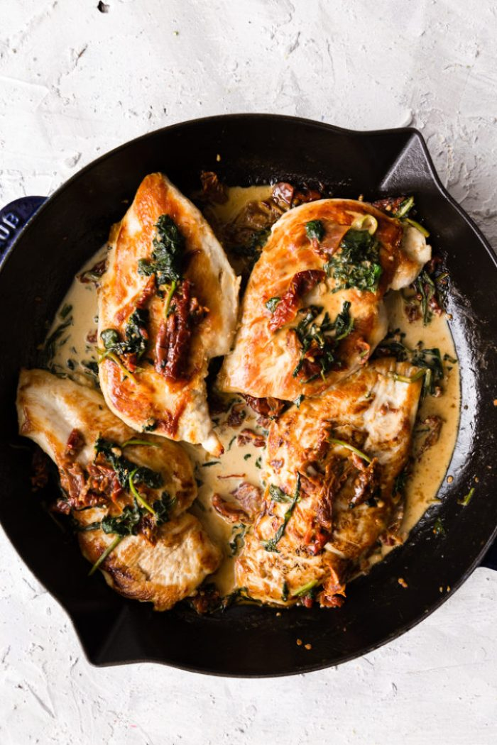 Creamy tuscan chicken used in the tuscan chicken pasta
