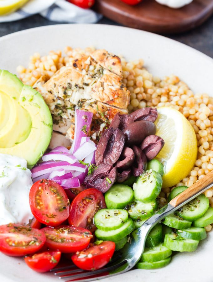 Greek chicken couscous bowl