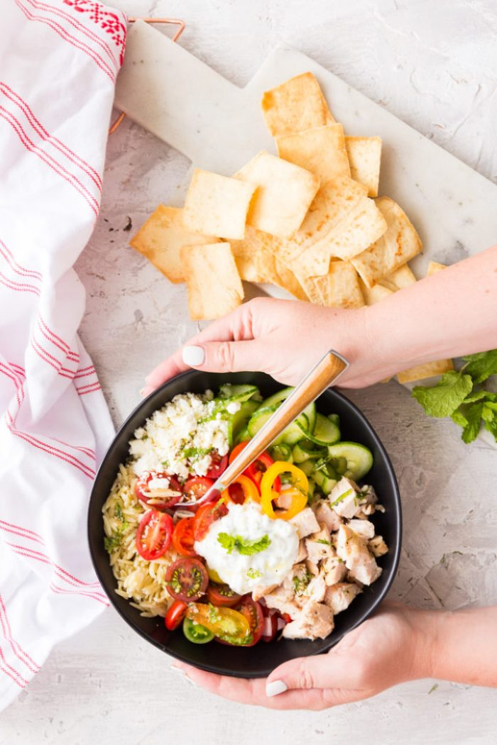 Greek Chicken Orzo Bowl- a tasty greek bowl with orzo pasta