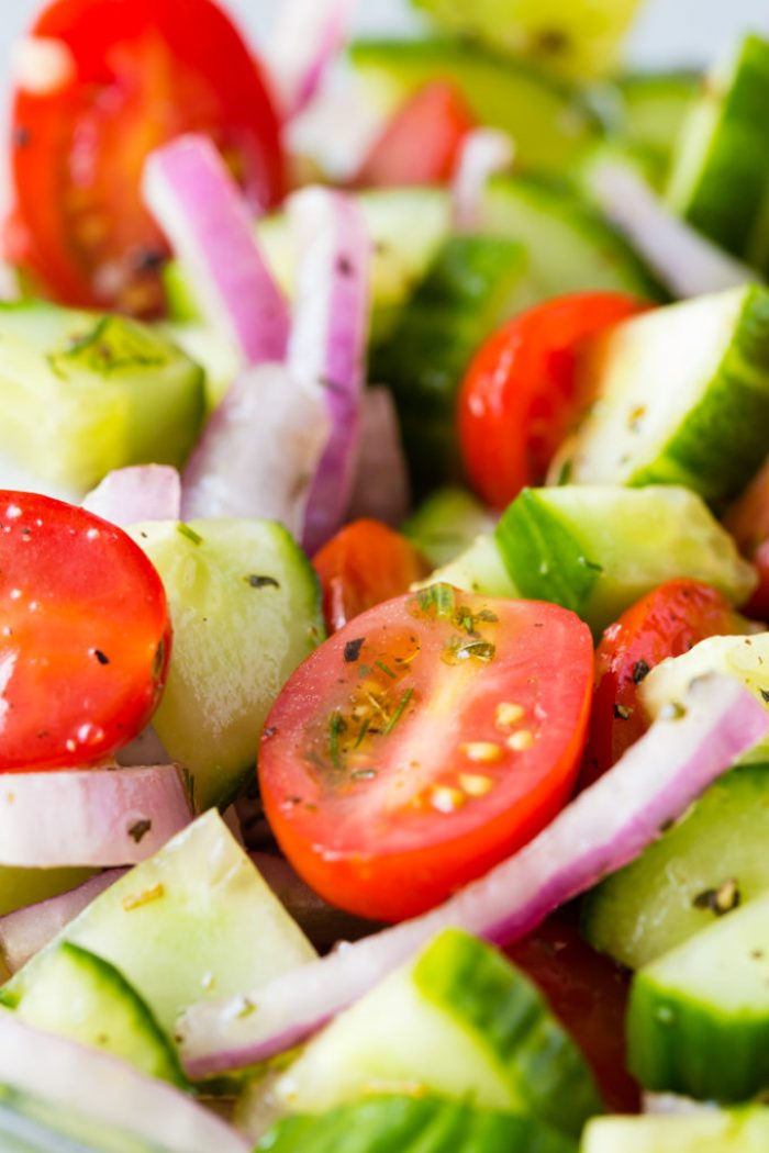 Greek Cucumber Salad is a fresh and tasty dish perfect for summer BBQ's or a midwinter taste of summer