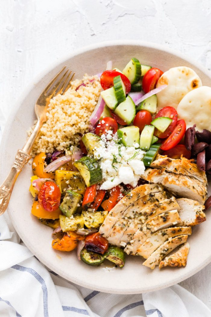 Greek Chicken Souvlaki Bowl Easy Peasy Meals