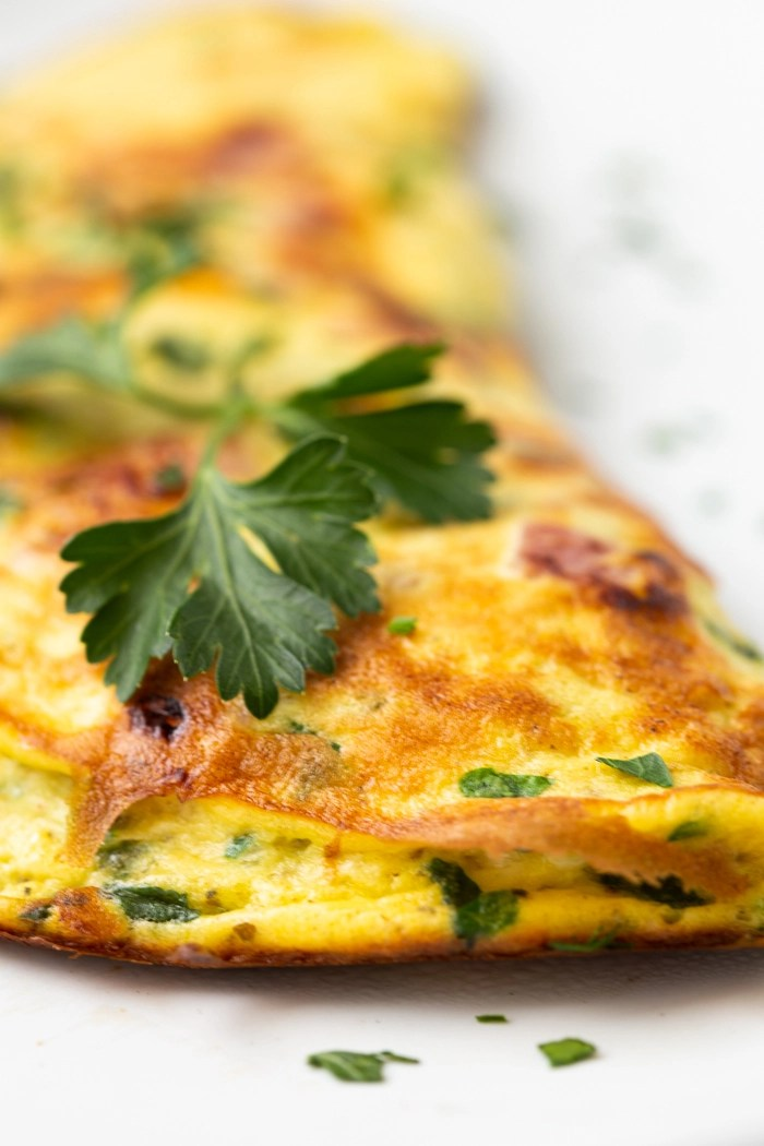 How to make a fluffy omelette, keto omelette, ham and spinach