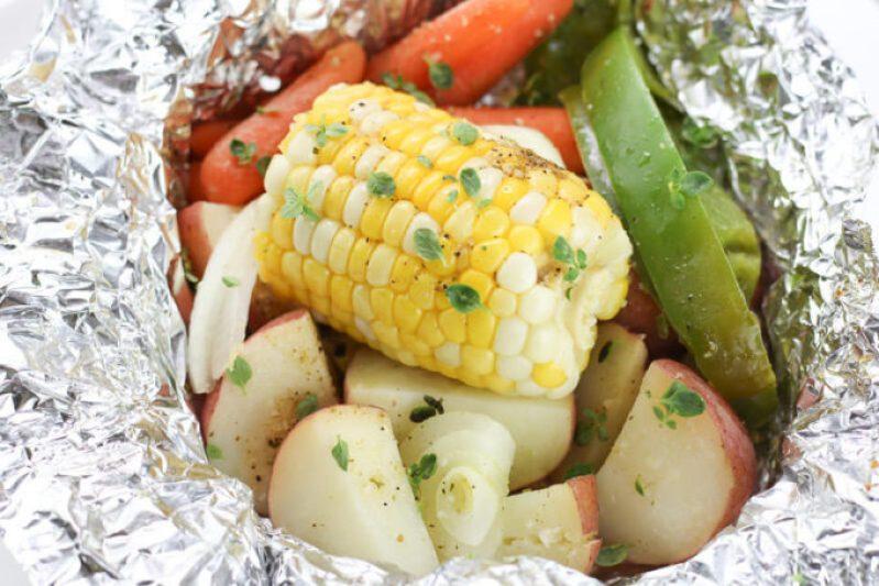 tinfoil dinner packet, Hobo Potato Veggie Packets, camping recipe