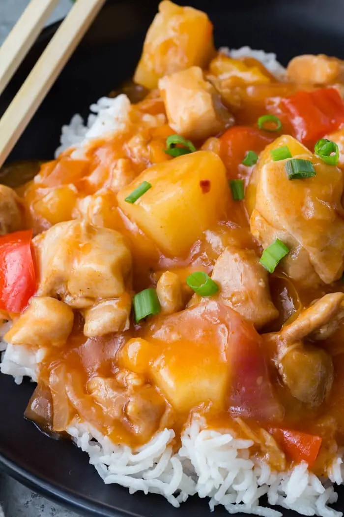 Instant Pot Sweet and Sour Chicken with Rice, cooked in a pressure cooker!