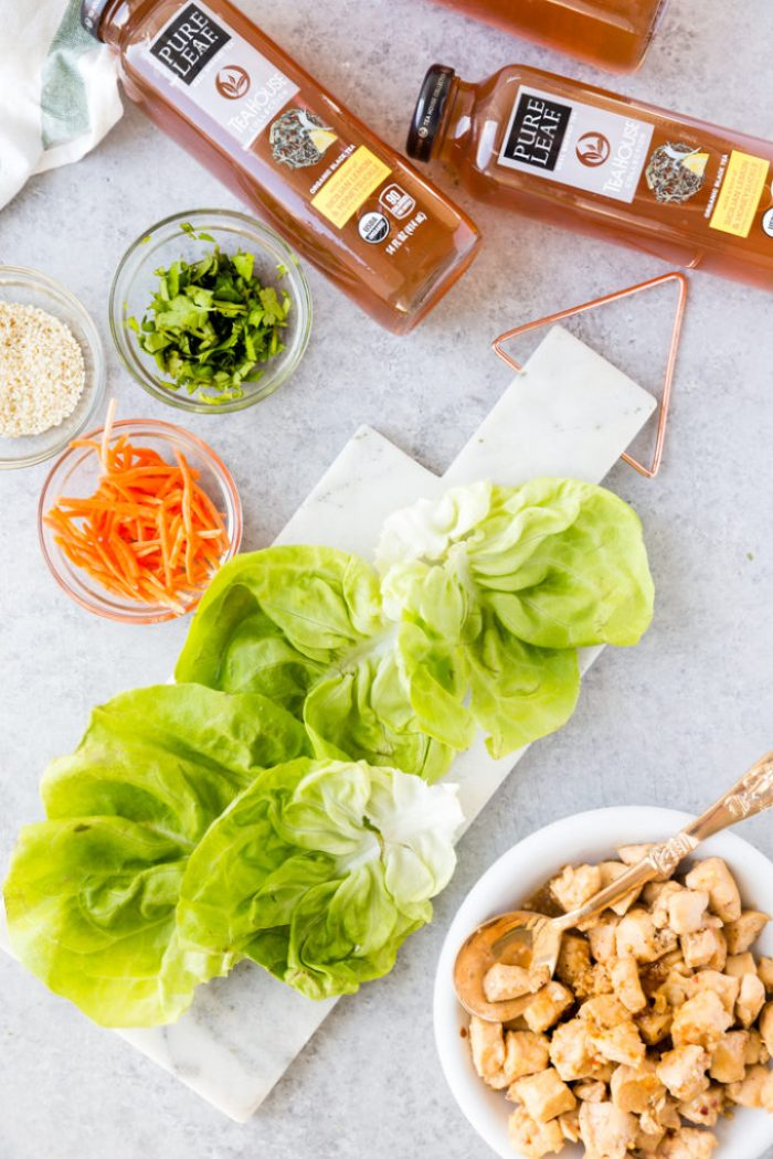 All the ingredients for making lemon chicken lettuce wraps
