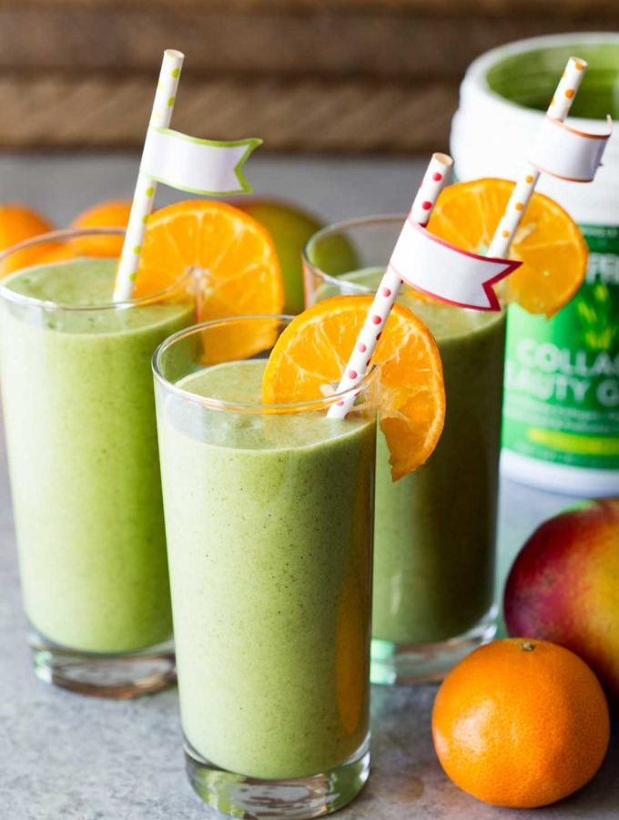 Mango Green Smoothie made with collagen beauty greens