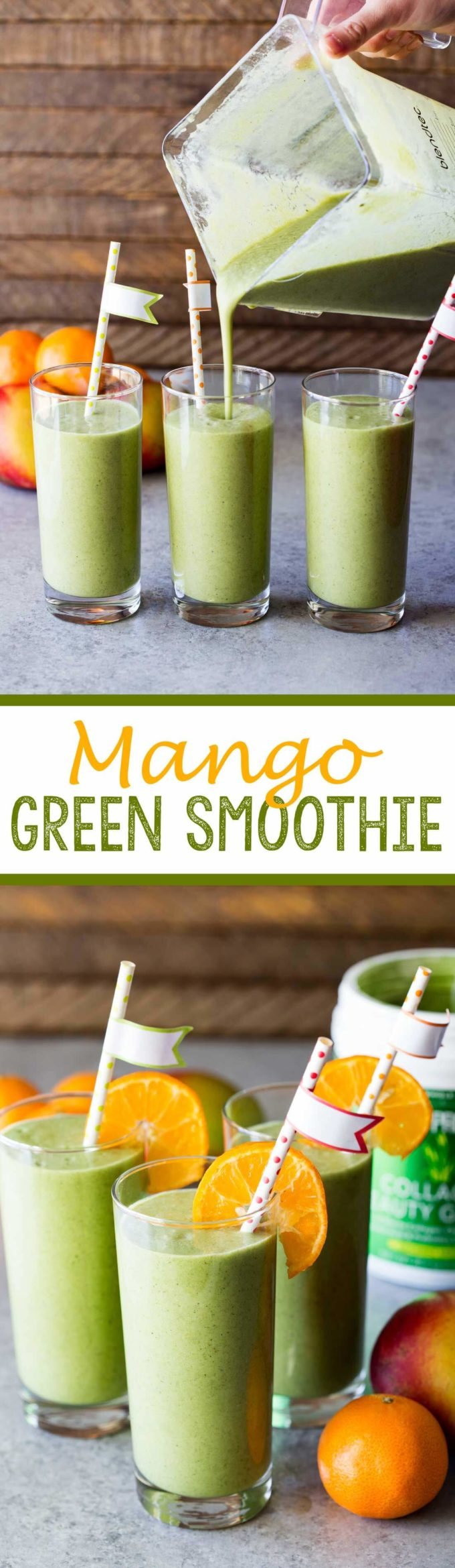 A mango green smoothie made with collagen beauty greens to help you look and feel good from the inside out!