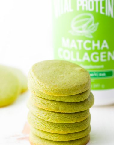 Easy to make Matcha Shortbread Cookies infused with matcha green tea collagen.