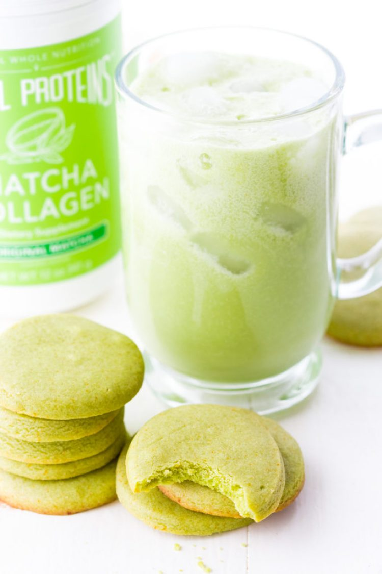 Matcha shortbread cookies with a matcha latte
