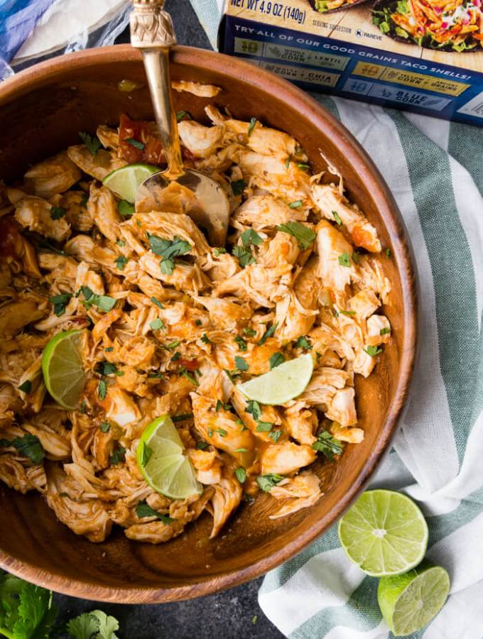 Mexican Shredded Chicken, cooked in the pressure cooker, perfect for tacos, burritos, salads, and more.