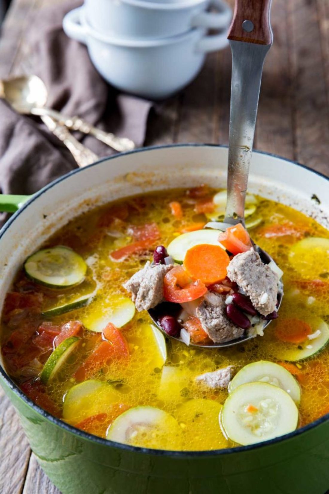 Ministrone soup is warm and cozy and great for winter