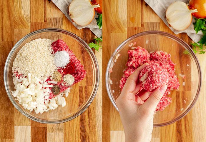 Making porcupine meatballs!