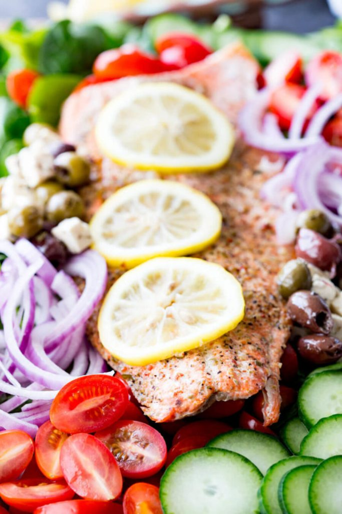 Easy Salmon Greek Salad