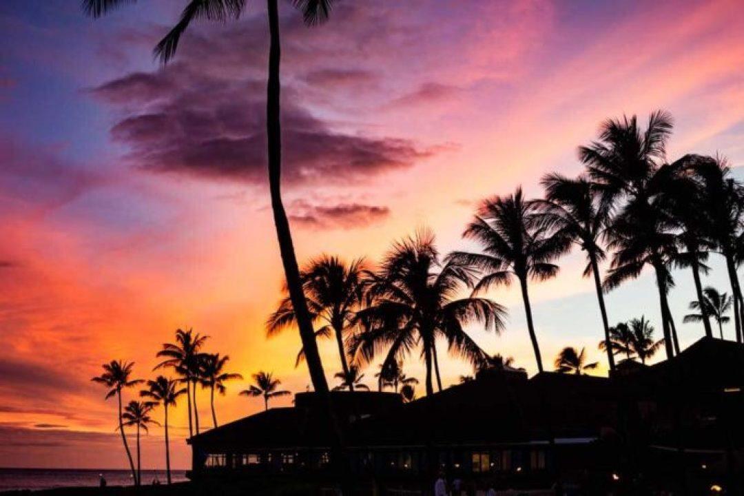A sunset in Kauai during the Aulii Luau