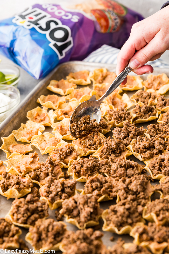 Adding ground beef to tostitos scoops chips