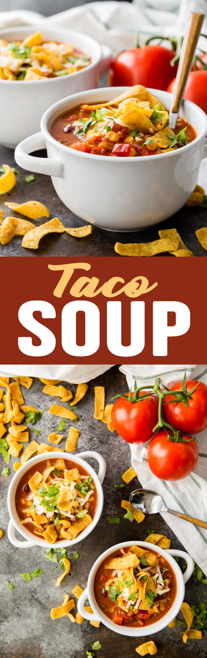 Taco Soup: The most flavorful and easy taco soup you will ever eat takes only 10-15 minutes to throw together. Healthy, easy, full of protein, fiber, and flavor; you can't go wrong with this soup!