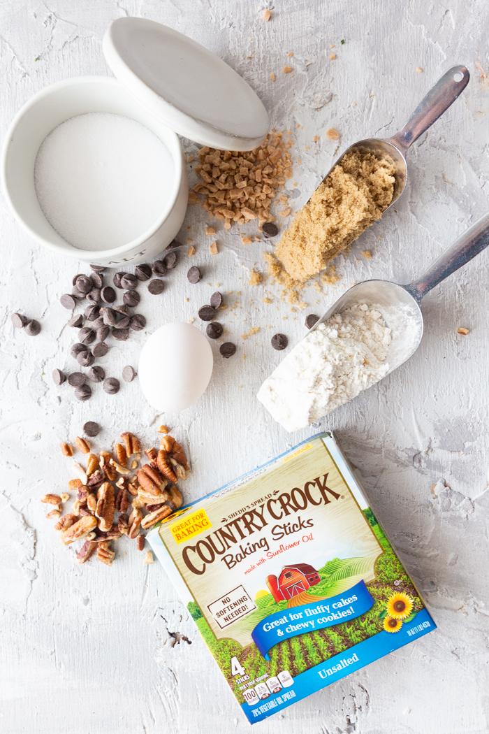 Ingredients for Toffee Pecan Shortbread Cookies