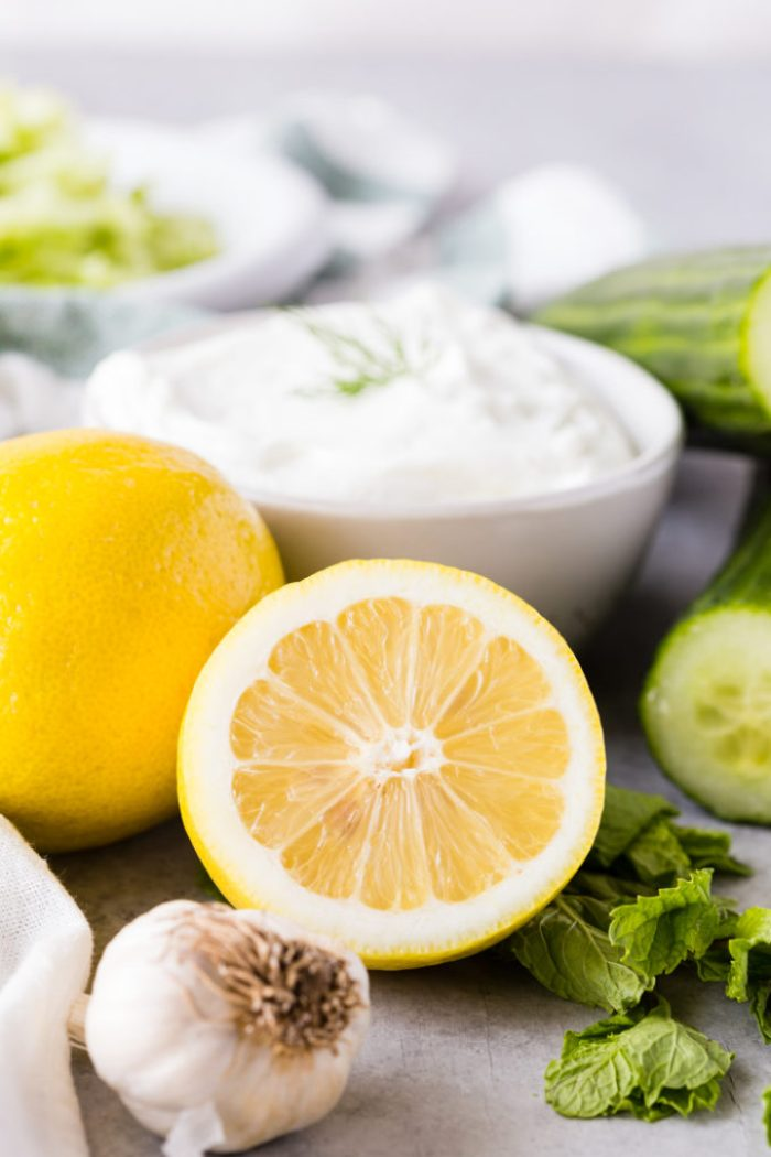 Tzatziki is a yogurt sauce with cucumber, garlic, lemon, dill, etc.