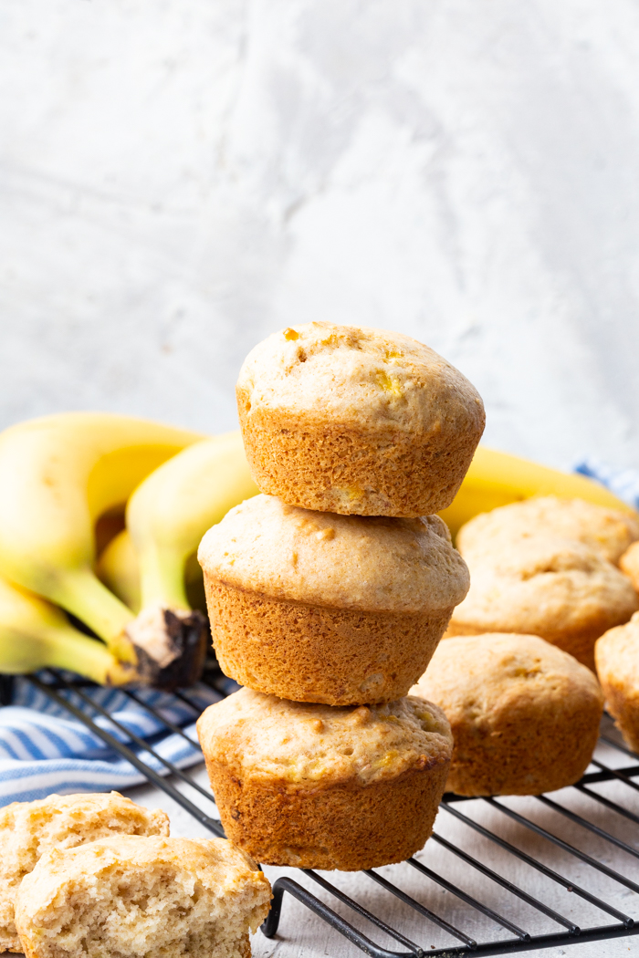 A stack of three banana bread muffins