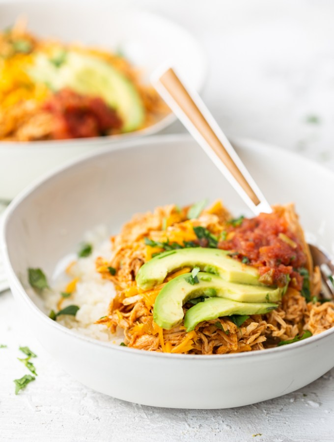 Low carb enchilada bowls, perfect for a keto friendly diet. White bowls