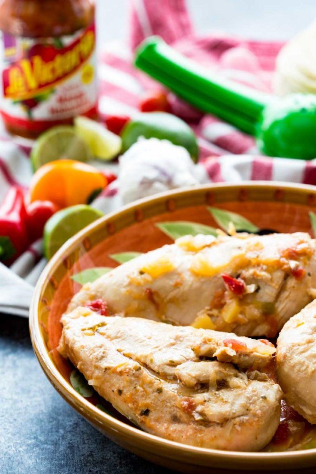 Chicken cooked in mango habanero salsa