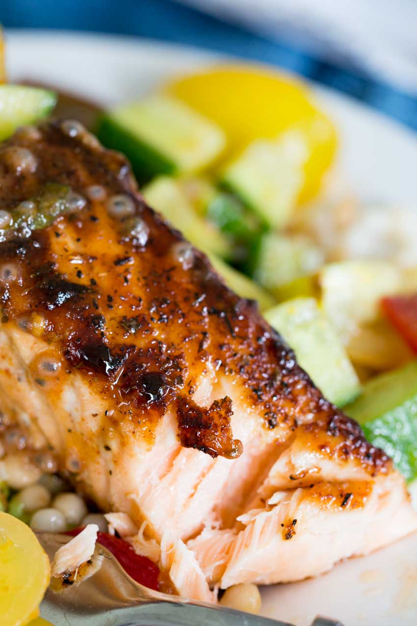 Brown sugar crusted salmon you want to dig into
