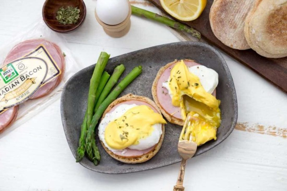 Brinner idea, easy eggs benedict, eggs and breakfast meat