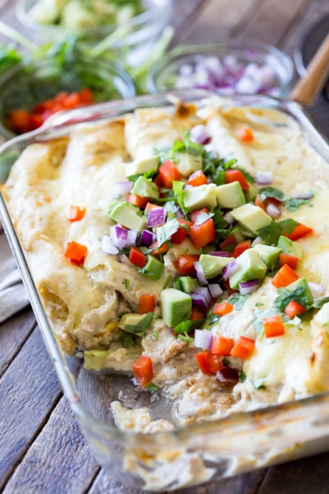 Green chili enchiladas with turkey and egg