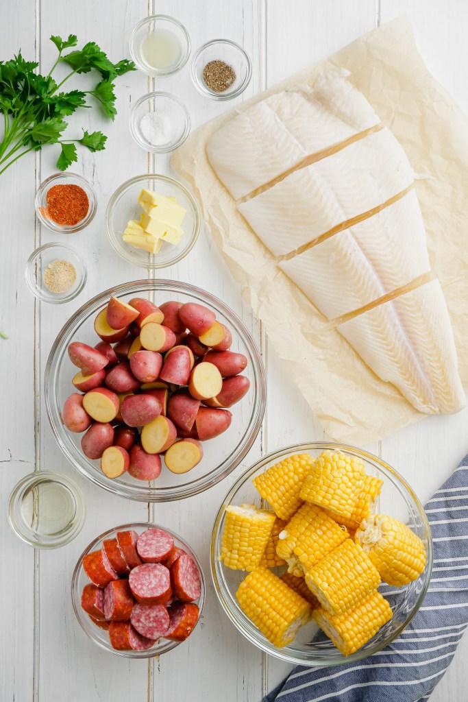 Roasted Halibut Sheet Pan Dinner ingredients