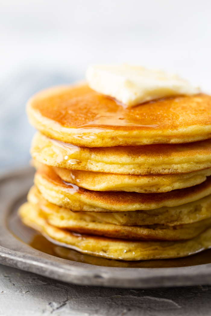 Keto friendly pancakes covered in butter!