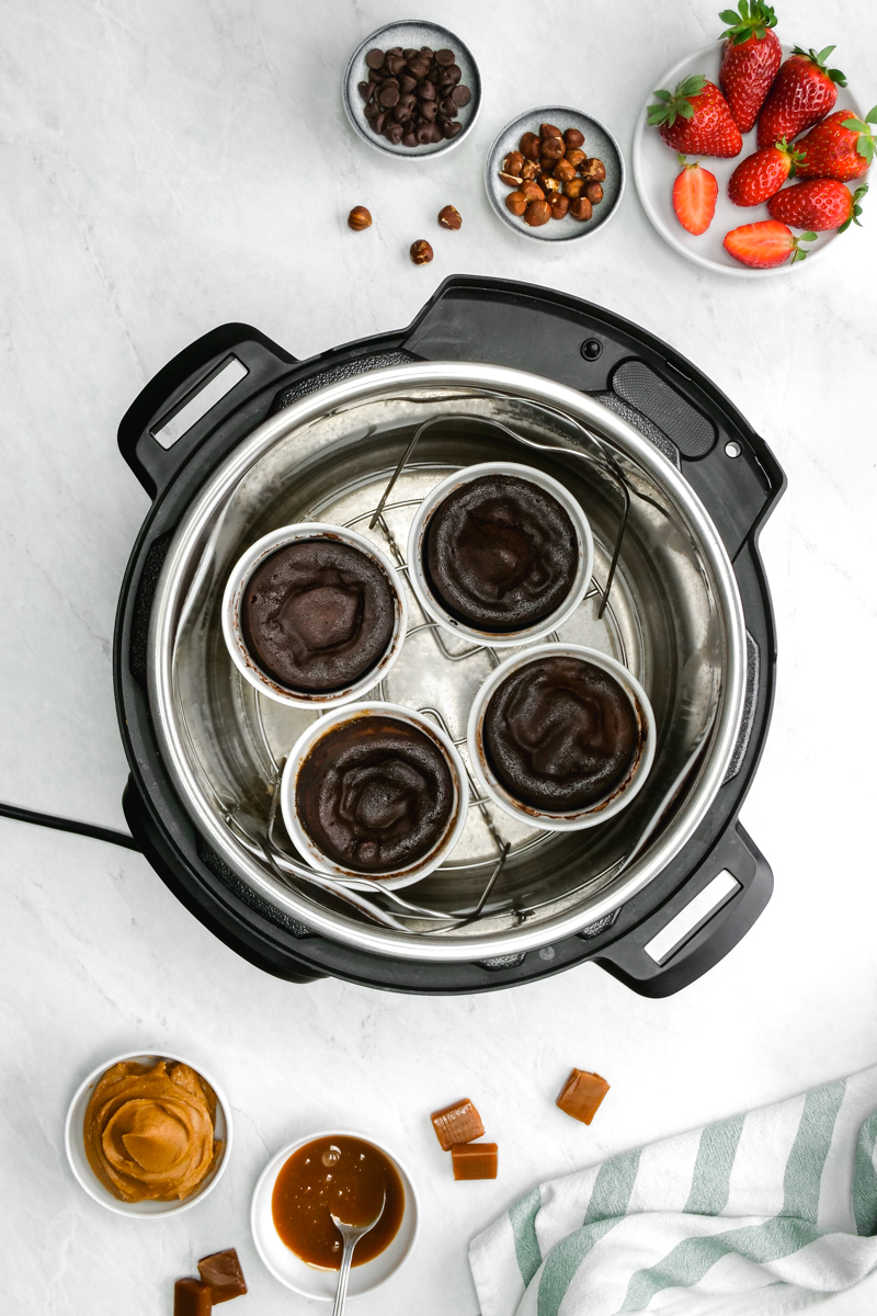 Four lava cake batters in the instant pot pressure cooker