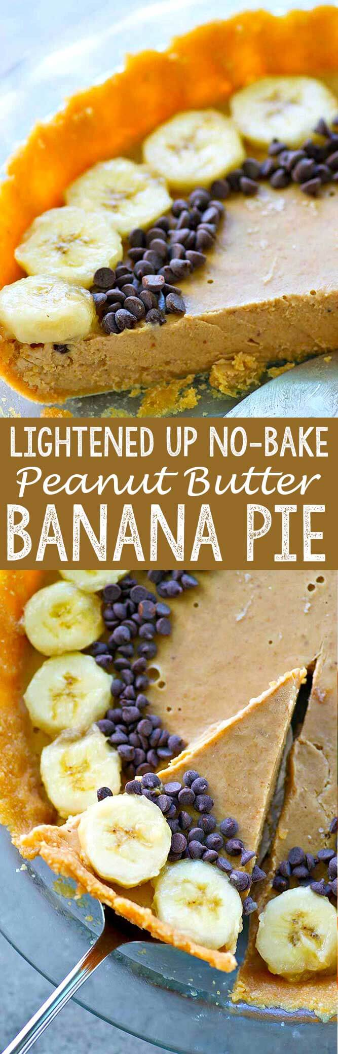 Lighter no bake peanut butter banana pie is a quick, easy, delicious dessert option!