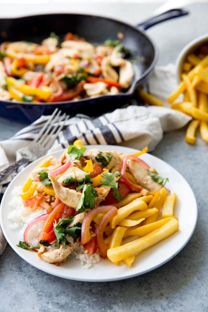Pollo Saltado Chicken Stir fry Peruvian Chicken Stir Fry, this pollo saltado is a delicious fusion meal