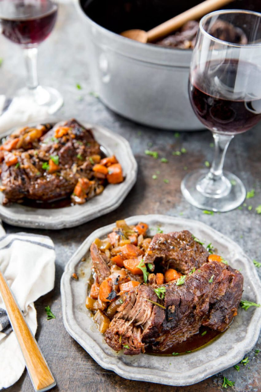 Red wine braised beef recipe, an easy meal cooked in a dutch oven. Easy, flavorful, and delicious.