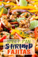 Sheet pan shrimp fajitas are done in 15 minutes start to finish and taste like restaurant quality.