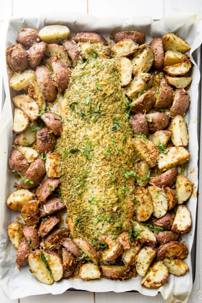 Sheet pan steel head with roasted potatoes