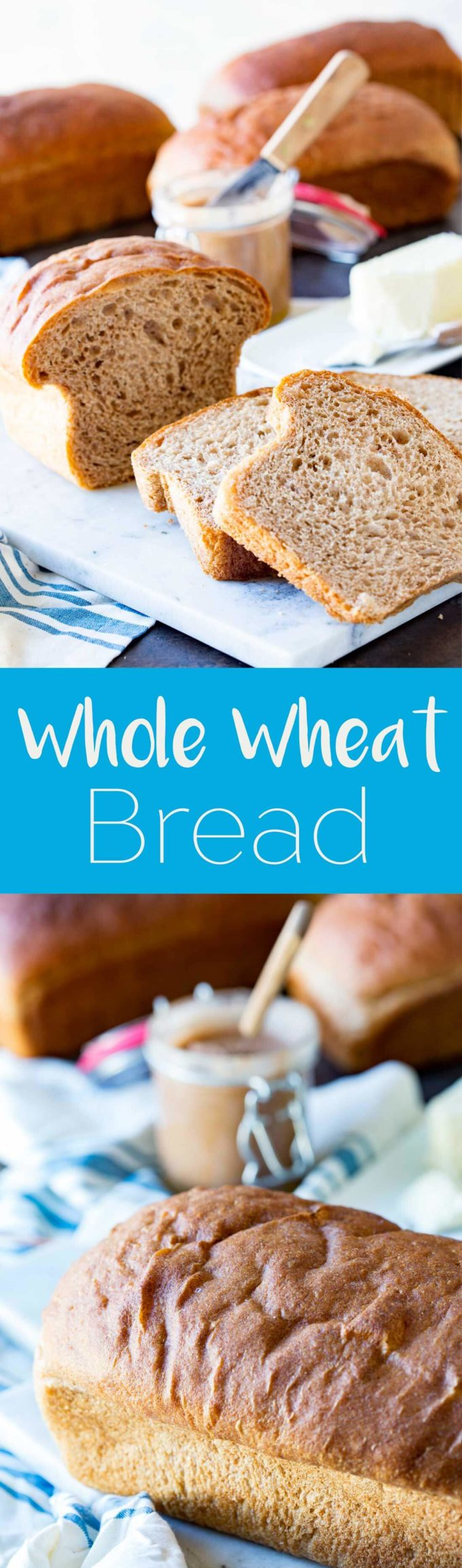 Honey Whole Wheat bread made from scratch for a hearty, delicious loaf